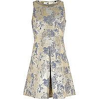 Girls blue floral metallic prom dress
