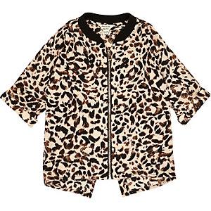Veste-chemise imprimée léopard mini fille
