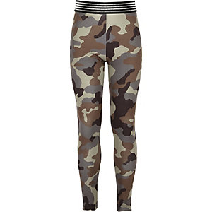 Girls green camo sparkly trim leggings