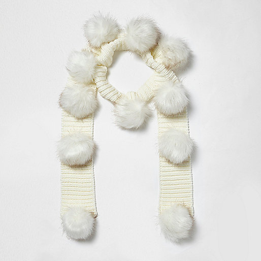 Girls cream knit pom pom scarf