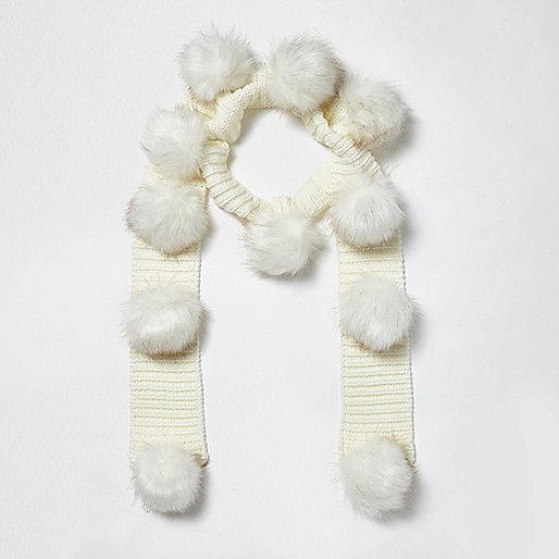 Girls cream knit pom pom scarf
