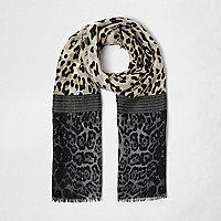 Girls brown block animal print scarf
