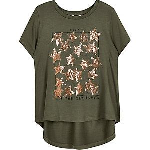 Kaki T-shirt met lovertjes voor mini girls