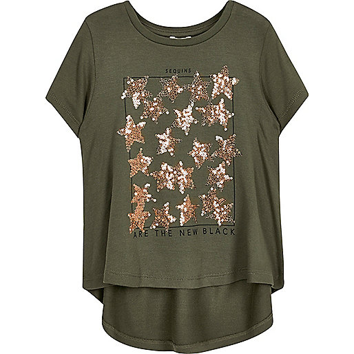 Mini girls khaki sequin t shirt mini girls sale girls for Girls sequin t shirt