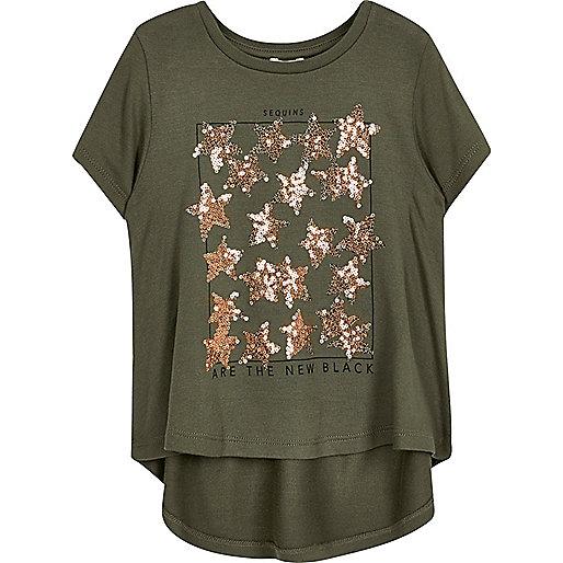 Mini girls khaki sequin T-shirt