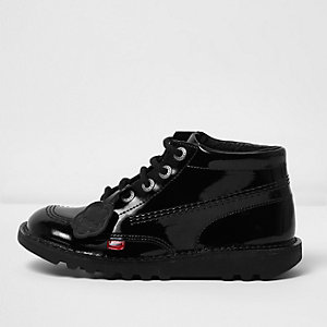 Girls Kickers black patent lace-up boots