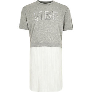 Girls grey sparkly pleated T-shirt dress