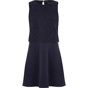 Girls navy blue lace layered dress