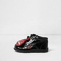 Mini girls Kickers black patent lace-up boots