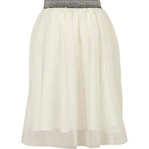 Jupe mi-longue blanche avec tulle pour fille