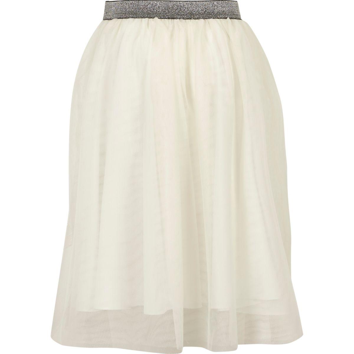 Girls white mesh midi skirt