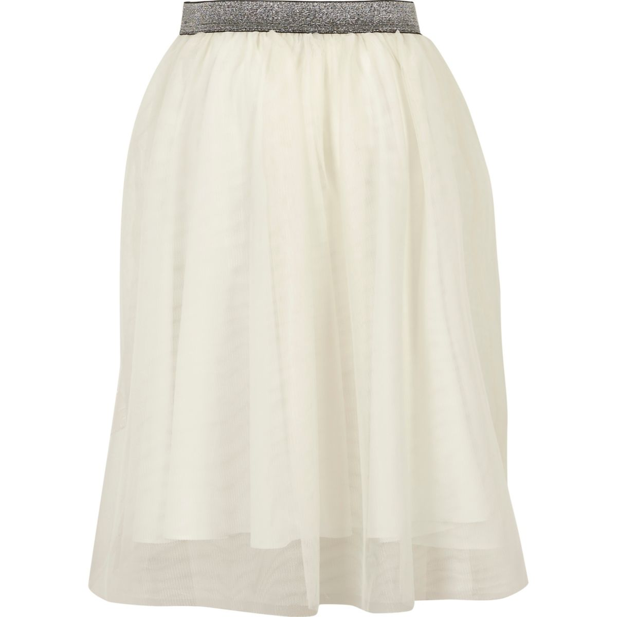 Girls white mesh midi skirt