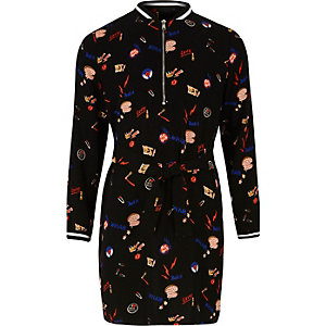 Girls black print bomber dress