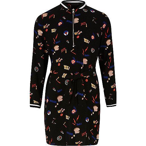 Girls black print bomber dress