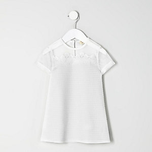Mini girls white flower T-shirt dress