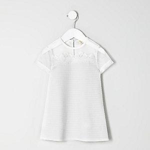 Robe t-shirt motif fleurs blanche mini fille
