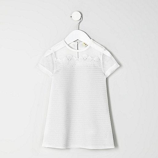 Mini girls white flower T-shirt dress