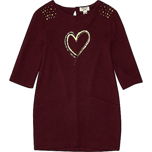 Mini girls red metallic print sweater dress