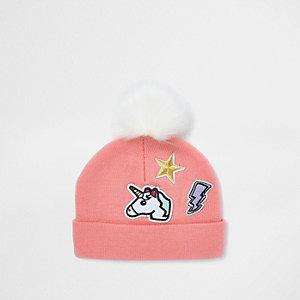 Mini girls pink unicorn badge bobble hat