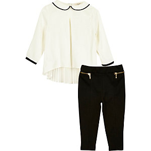 Ensemble top plissé blanc et leggings mini fille