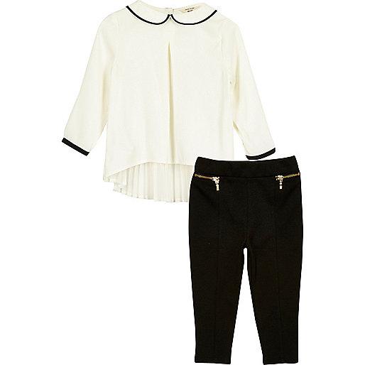 Mini girls white pleat top leggings set