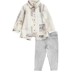 Mini girls pink print shirt leggings set