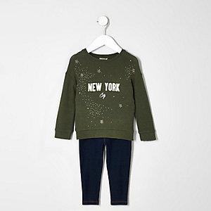 Ensemble avec sweat New York vert kaki pour mini fille