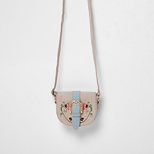 Girls pink embroidered saddle bag