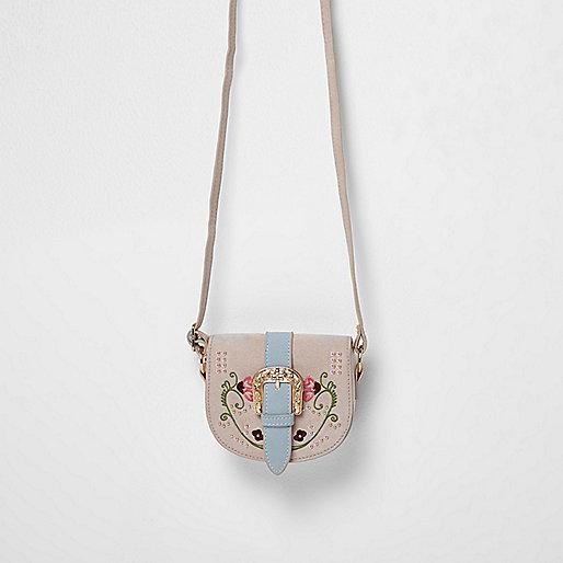 Girls pink embroidered saddle bag