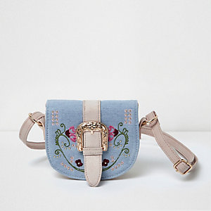 Girls blue embroidered cross body saddle bag