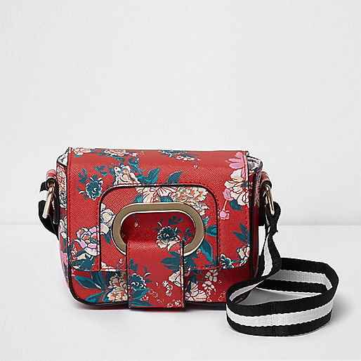 Girls red and pink floral cross body bag