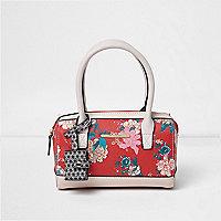 Girls red floral print bowler handbag