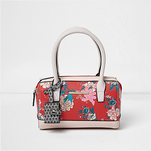 Girls red floral print bowler handbag