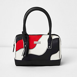 Girls black and white wave panel tote bag