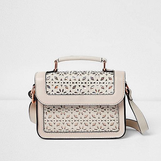 Girls white laser cut satchel bag