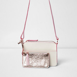 Girls metallic pink zip front satchel