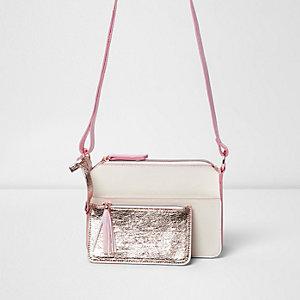 Sacoche rose métallisée zippée sur le devant pour fille
