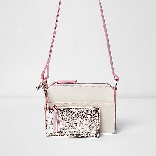 Girls metallic pink zip front satchel