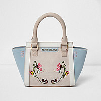 Girls floral embroidered winged tote bag