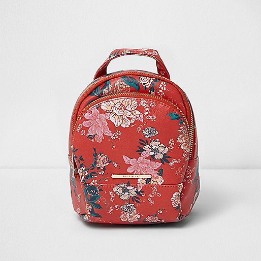 Girls red and pink floral backpack