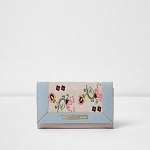 Porte-monnaie bleu à fleurs brodées pour fille