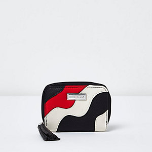Girls white and black colour block wave purse