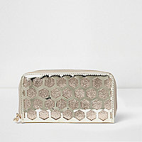 Girls gold metallic honeycomb zip purse
