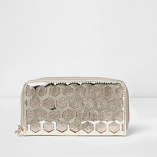 Girls gold metallic honeycomb zip purse