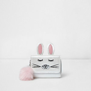 Girls white foldover bunny pom pom purse