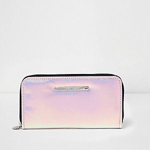 Girls pink iridescent zip around purse