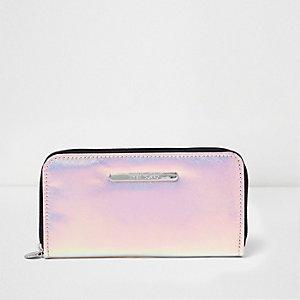 Roze iriserende portemonnee met rits rondom voor meisjes