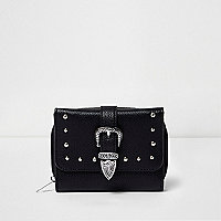 Girls black faux leather western buckle purse