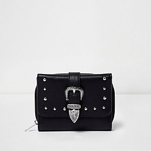 Girls black faux leather western buckle purse