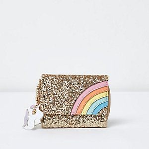 Girls gold glitter rainbow foldover purse